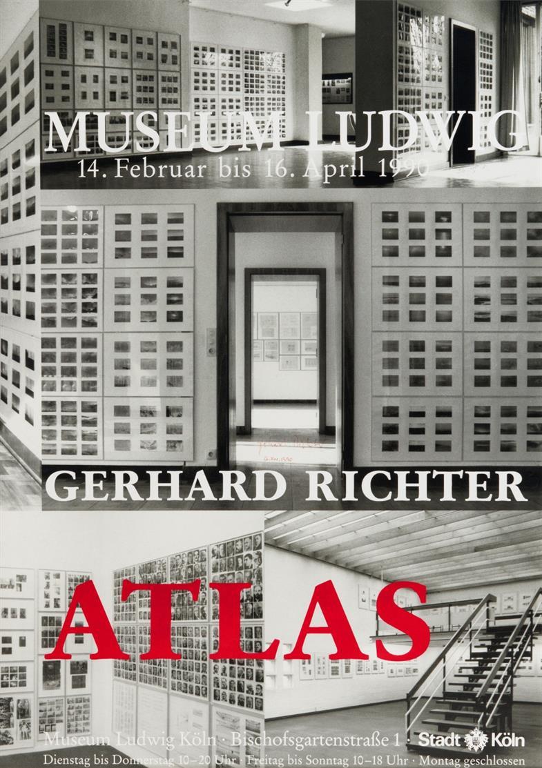 Gerhard Richter. Museum Ludwig Gerhard Richter Atlas. 1990. Plakat. Offset u. Serigraphie. Signiert.