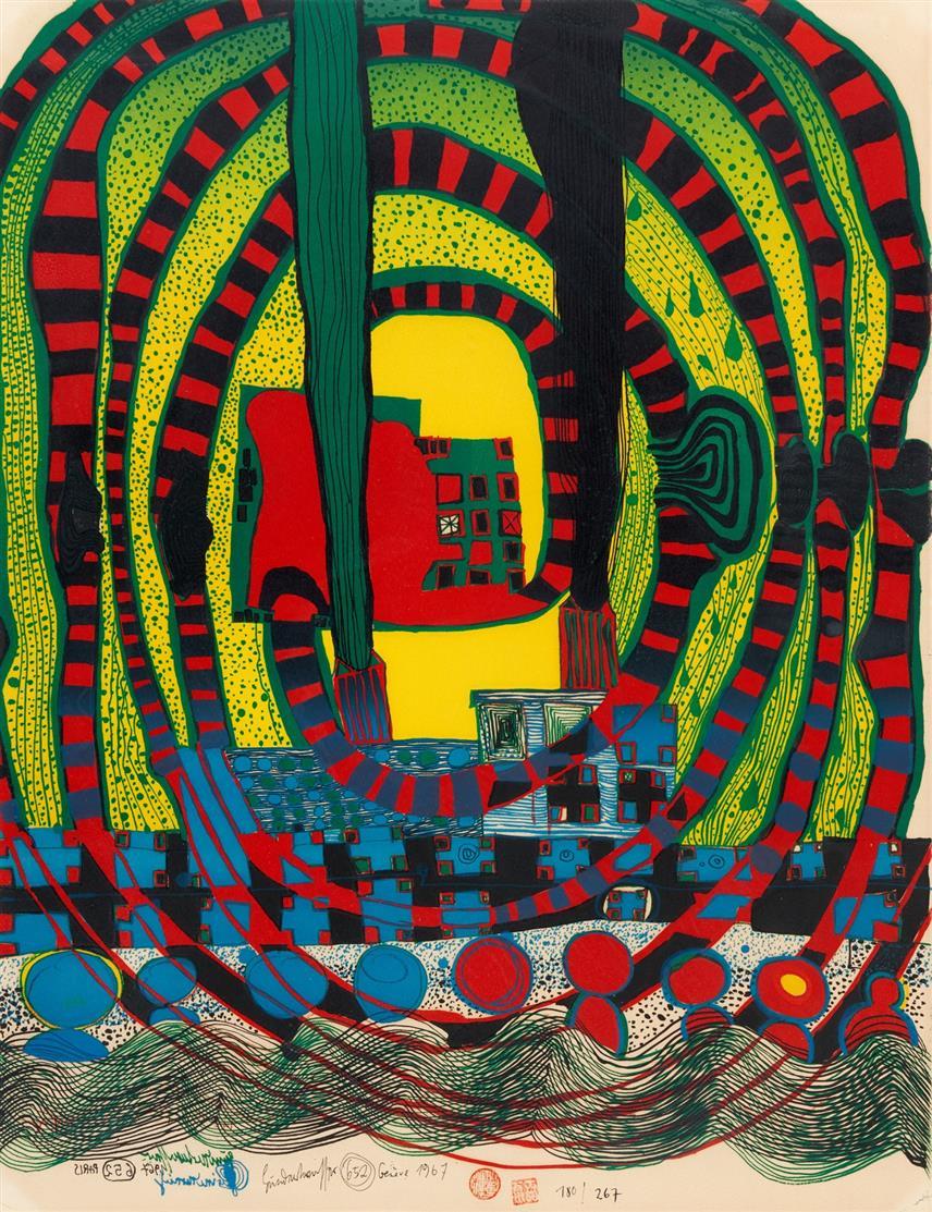 Friedensreich Hundertwasser. Seereise II - Reise zur See und mit der Bahn. 1967. Farblithographie. Signiert. Ex. 180/267. Koschatzky 25.
