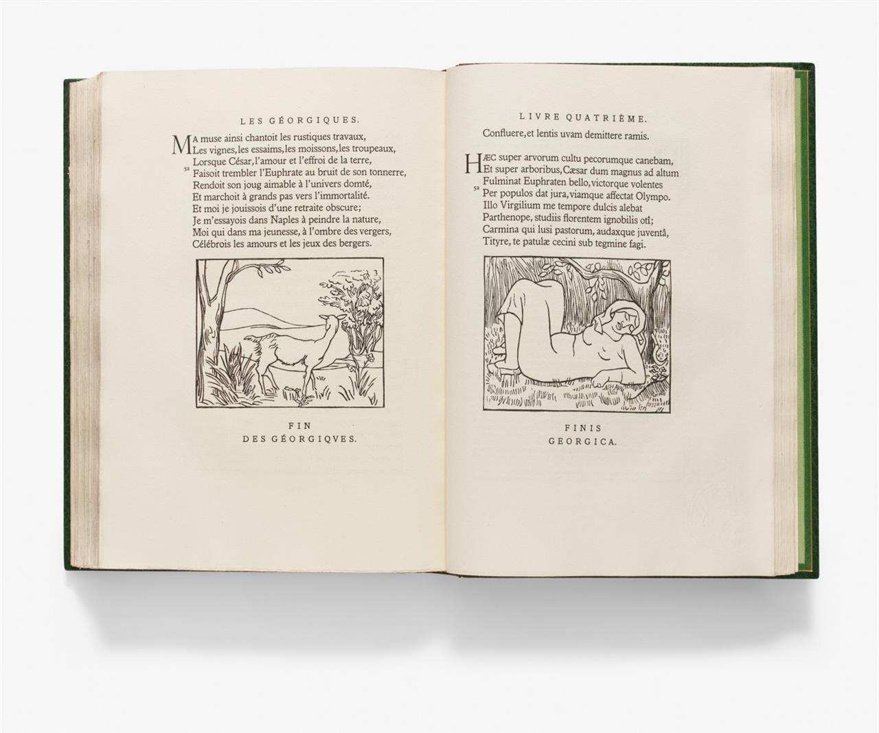 P. Vergilius Maro / A. Maillol, Les Géorgiques. Texte latin et version française. Paris 1937-43. - Ex. 330/750. - Mit 3 zusätzl. eingebund. Entwurfszeichnungen.