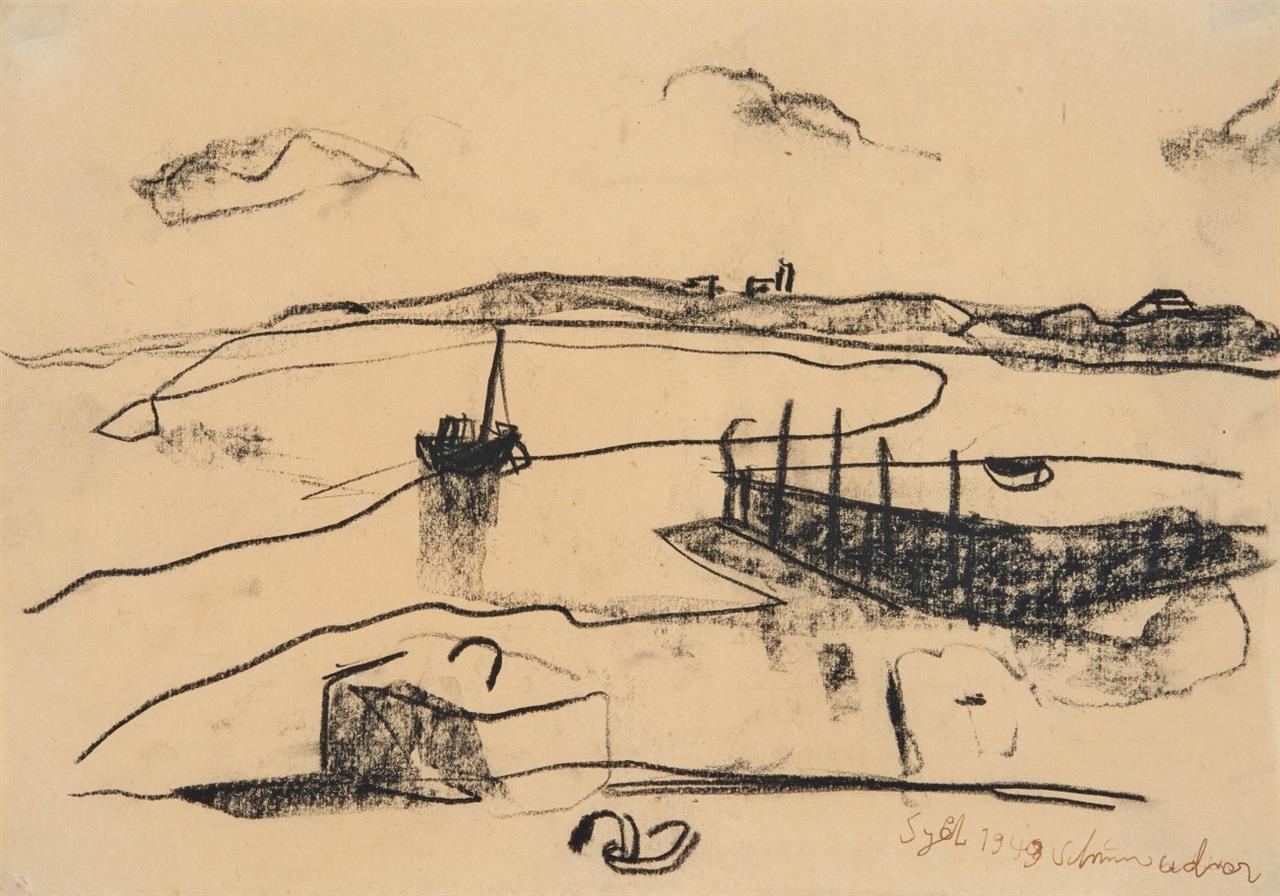 Emil Schumacher. Sylt. 1949. Kohlezeichnung. Signiert.
